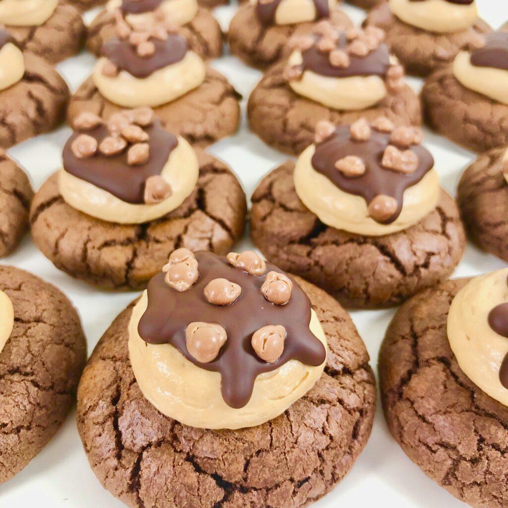 Chokladcookiebiskvier med nougat.